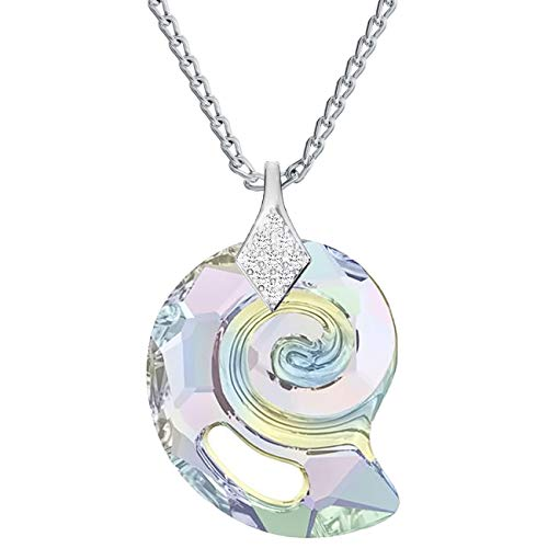 Beforia Paris* Necklace - Sea Snail - Crystal AB - with 925 Silver Chain with Crystals Compatible for Swarovski Pendant Necklace with Jewellery Case PIN/75