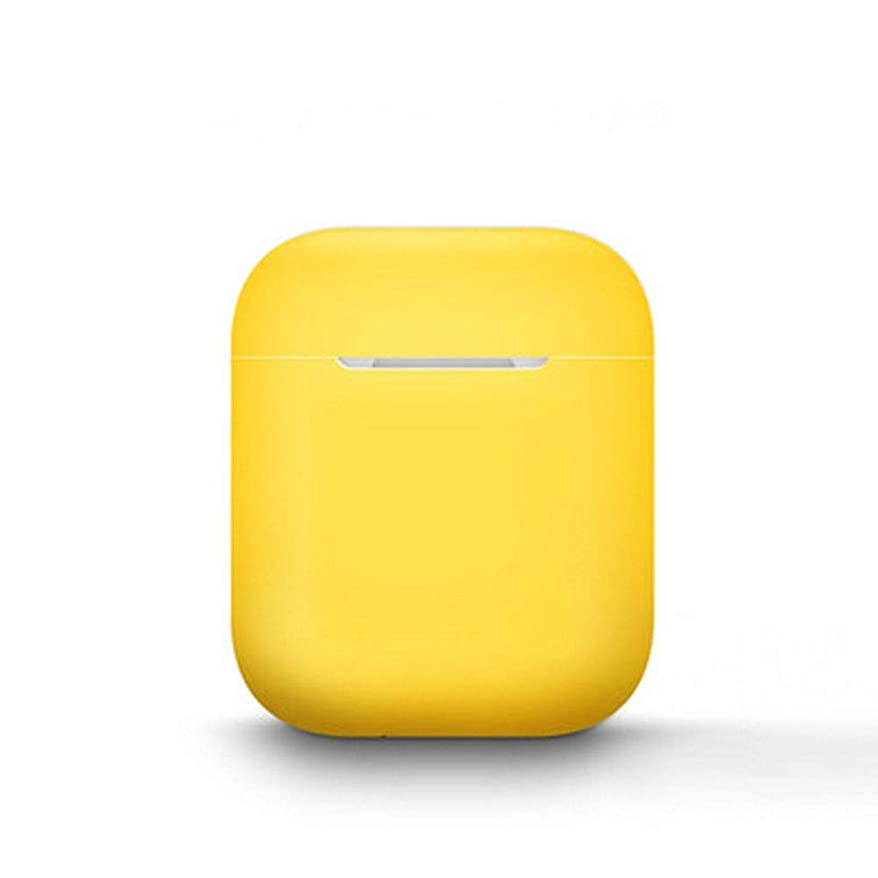 衛星完璧なバケツヘッドフォンカバー、シリコンワイヤレスBluetoothヘッドセット、本物のAirPodsカバー、アンチドロップ耐衝撃アクセサリー、クリエイティブパーソナリティダストカバー保護ボックス、アンチロストストラップイヤーキャップ (Color : Yellow)