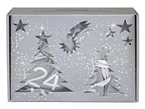 BriConti Make-Up Adventskalender 'Satin Bags' silber/weiß, 24 Säckchen