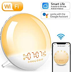 Wake-Up Light Sunrise Alarm Clock - Smart WiFi,Natural Light Alarm Clocks FM Radio for Bedroom,Work with Alexa,Google Home,Snooze,USB Charger,4 Alarms,7 Sounds,for Kids and Heavy Sleepers