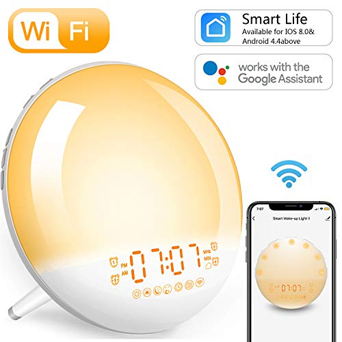 Sunrise Alarm Clock Wake-Up Light - Smart WiFi,Natural Light Digital Alarm Clocks Radio for Bedroom,Work with Alexa,Google Home,Snooze,USB Charger,4 Alarms,7 Sounds,for Adults Kids and Heavy Sleepers