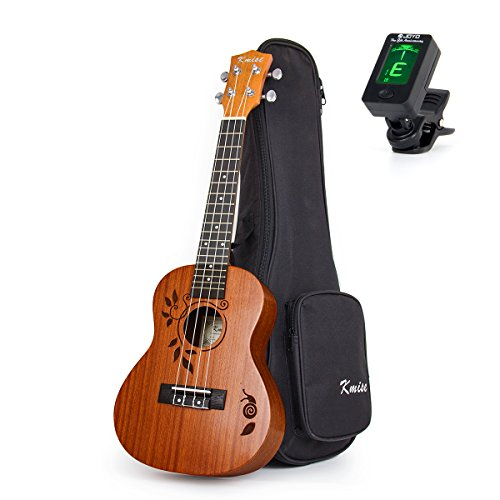 Kmise Concert Ukulele Uke Acoustic Hawaiian Guitar 23 Inch 18 Frets Mahagany with Ukelele Bag and Tuner