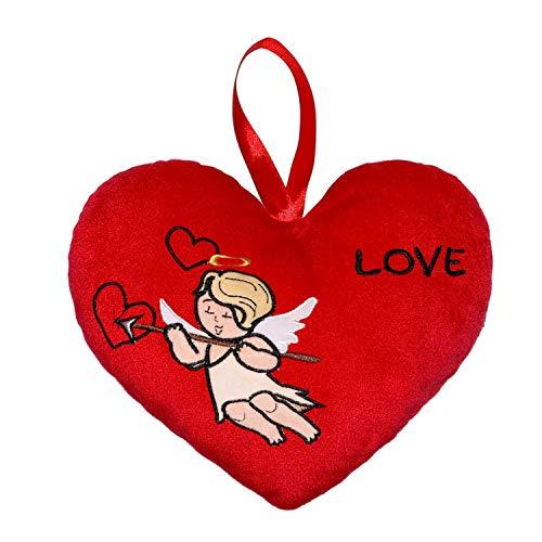 Beppe Plüschherz Amore Love Liebe Liebesherz Herz Stoffherz Geschenk Heart Glücksherz rot mit gesticktem Engel Amor niedliches Kuschelherz Kinder Erwachsene Anhänger Plüschkissen Kissen Auflage