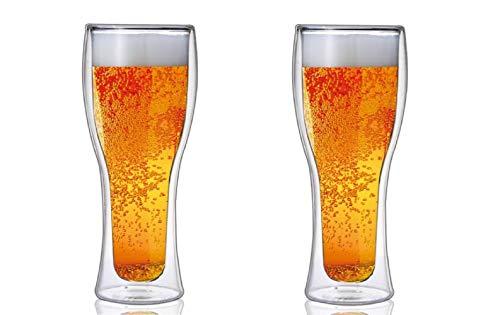 【morning place】 ダブルウォール ビール グラス ビアグラス タンブラー お洒落 スタイリッシュ 500ml (2個セット)