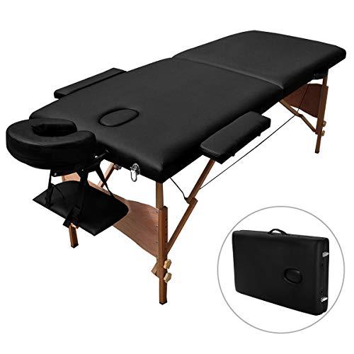 COSTWAY Massageliege Therapieliege, Kosmetikliege klappbar, Massagebank 185cm, Schwedische Massage inkl. Tragetasche, Massagetisch Blastbar bis 220 kg (Schwarz)