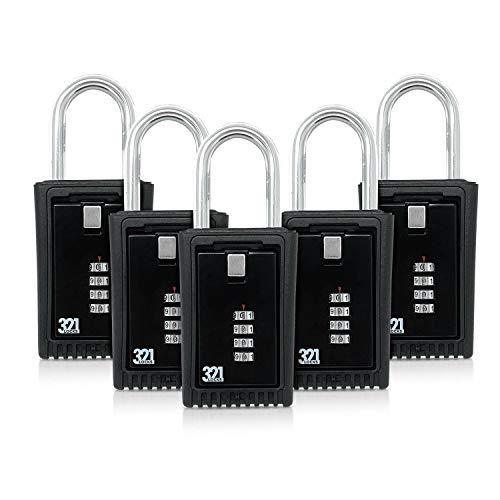 Caja de Almacenamiento de Llaves para Instalar en el picaporte/Caja de Seguridad para Instalar en cercas LB-003 - Combinación de Clave de 4 dígitos, pack de 5, Negro