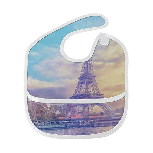 France Skyline Paris romantique Tour Eiffel Personnalisé Doux Étanche Lavable Tache Et Résistant Aux Odeurs Bébé Dribble Drool bavoirs Chiffons Pour Bébé Ensemble Pour 6-24 Mois Enfants Cadeaux