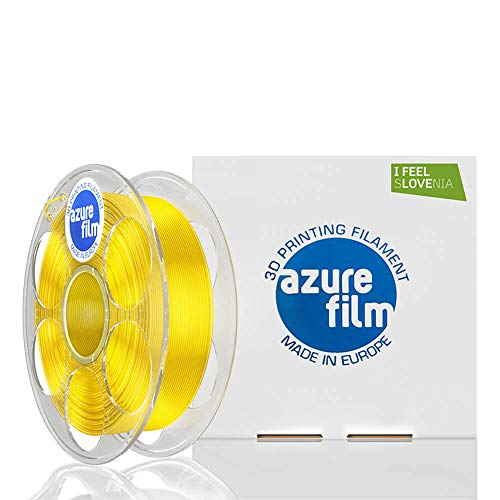 AZUREFILM 3D Filamento PLA per stampa 3D professionale 1,75 mm - Accessori di stampa 3D indispensabili - Precisione dimensionale elevata +/- 0,02 mm, Bobina 1 kg, Giallo Trasparente