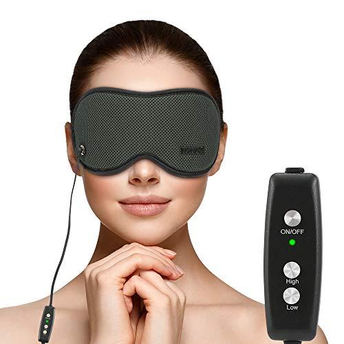 Máscara de ojo calentada, HOMMINI 3D Sleep Mask calentada por USB Power Control de temperatura ajustable, alivio del estrés ocular y ojos hinchados, ojo seco, fatiga ocular, mejora la circulación