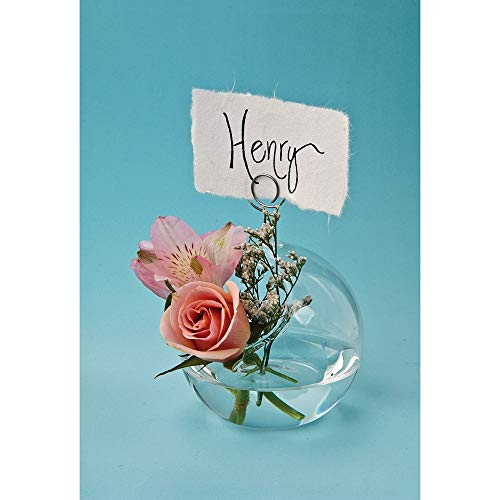Luna Bazaar Medium Glass Place Card Vase (3-Inch, Globe and Wire Design) - For Home Decor and Wedding Tabletops