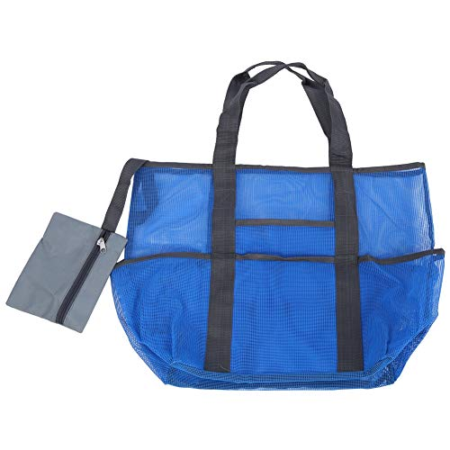Jacksing Organizador de Playa, Bolso de Playa Grande Duradero con 8 Bolsillos Grandes para Viajar(Blue)