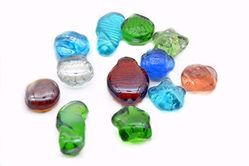 NEEZ Glazen kiezelstenen voor decoratie in aquarium, vazen en huisdecoratie, stenen kralen afgerond, uggets, mozaïektegels, edelstenen in netzakken 100/200 stuks