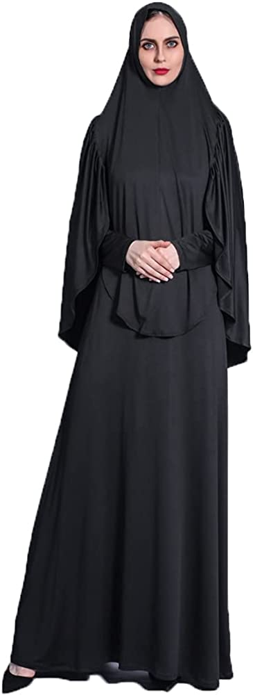 Women's Ramadan Spring Pleated Headscarf Suit Big Swing Dress Retro Muslim Solid Color Robe