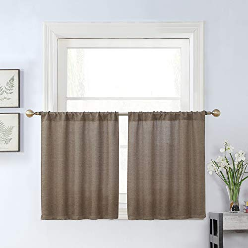 Rama Rose Soft Burlap Tier Curtains for Small Window, Short Tailored Kitchen Curtains, Cafe Drapes, 2 Panels, 27 W X 36 L Inch Each, Nature Taupe
