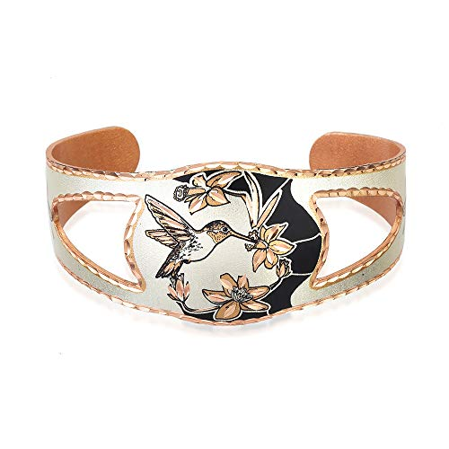 Wildlife Bracelet, Adjustable Wide Cuff Bracelet, Tapered with Shied-Shape-Cut-Out Like a Knight's Shield, Copper Jewelry Handmade silver