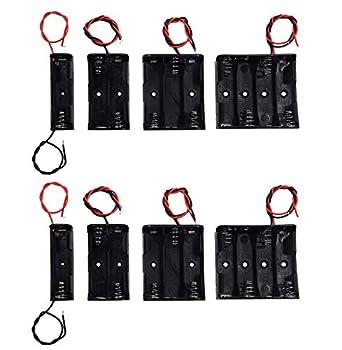 LAMPVPATH  Pack of 8  AA Battery Holder Bundle 2Pcs Single AA Battery Holder 2Pcs 2X 1.5V AA Battery Holder with Leads 2Pcs 3X 1.5V 3 AA Battery Holder with Wire 2Pcs 4X 1.5V 6 Volt Battery Holder