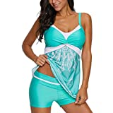 AMUSTER Bademode Tankini Set Damen Ruched Badeanzug Bauchweg Push up mit Bügel Damen Bikini-Set...