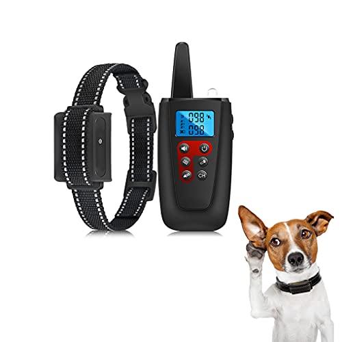 Bikirin Verbessertes Antibell Halsband mit 1000M Fernbedienung, USB Wiederaufladbares Anti-Bell-Hundehalsbänder mit Vibration/Ton Modi für Hundetraining, für Kleine, Mittelgroße und Große Hunde