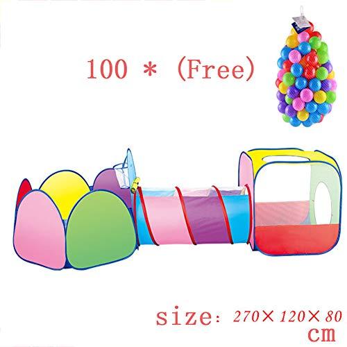 Kids Pop 3-in-1 kinderspeeltenthuis met basketbaltunnel en hoepelbaktenttenten voor jongens, meisjes, babyspellen,270 * 120 * 80cm