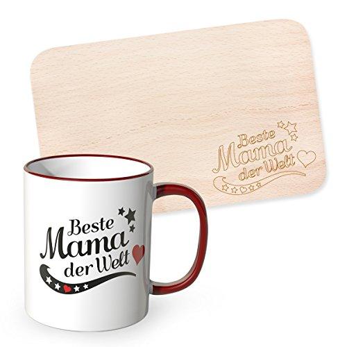 WANDKINGS Tasse + Frühstücksbrettchen mit Gravur Beste Mama der Welt im Set, Mutter