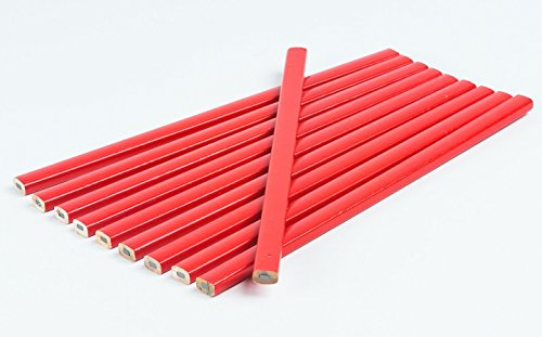 20 Stück Zimmermannsbleistift I Rot I oval I 250 mm I Zimmermann-Bleistift, Bau - Bleistifte