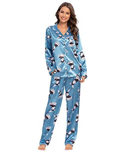 GOSO Pijamas de satén para Mujer Botones de Pijama para Mujeres Saten Conjuntos de Manga Larga Florales Ropa de Dormir de señora de salón Suaves