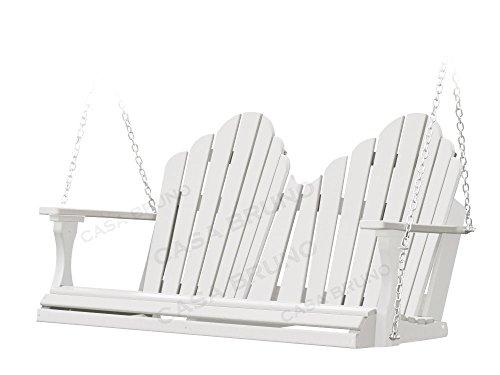 Polywood CASA Bruno Original Montana Hängeschaukel/Gartenschaukel 130 cm breit, aus recyceltem HDPE Kunststoff, Weiss - kompromisslos wetterfest