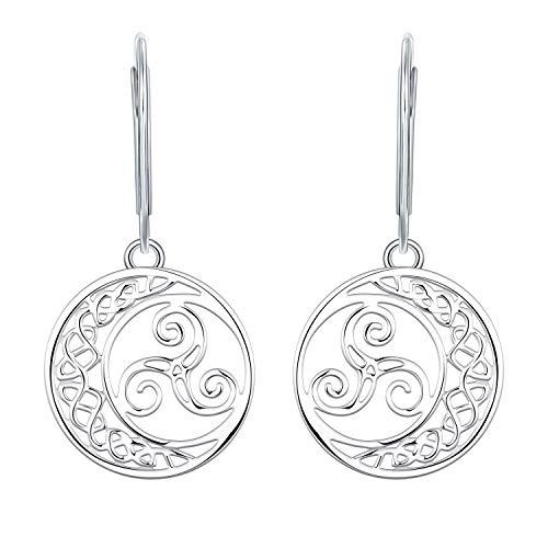 YL Pendientes Celta Nudo de Plata 925, Triquetra Irland Pendientes Joya para Mujer