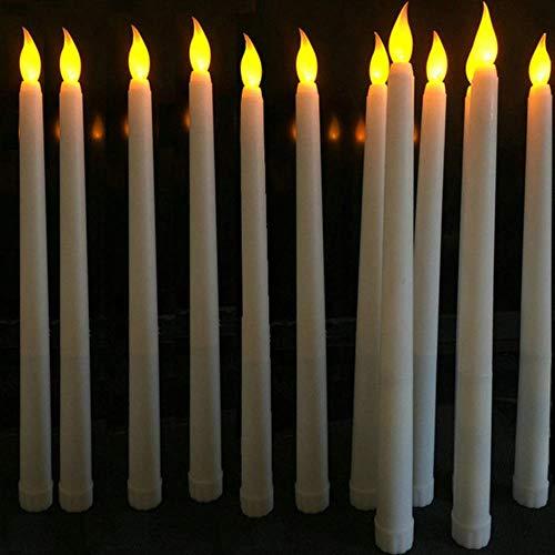 LinZX Pièces en Plastique vacillant LED sans Flamme avec Flamme Bougies Bougie Bullet, 28 cm Jaune Ambre Batterie Bougies de Noël,6 Pieces Type A