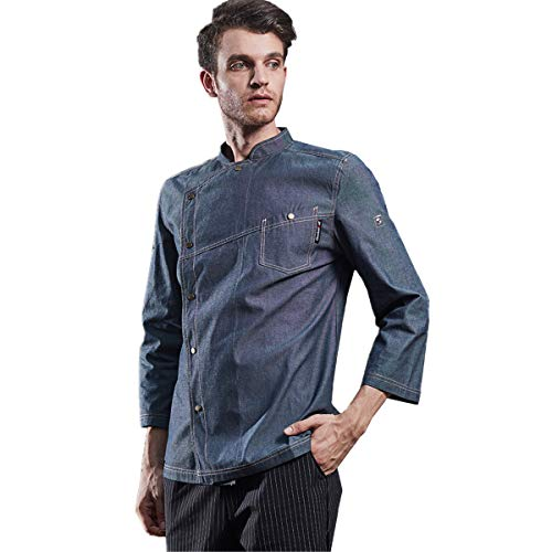 XINFU Men's Chef Jacket Medium Thickness Cowboy Kitchen Adjustable Sleeves Chef Coat