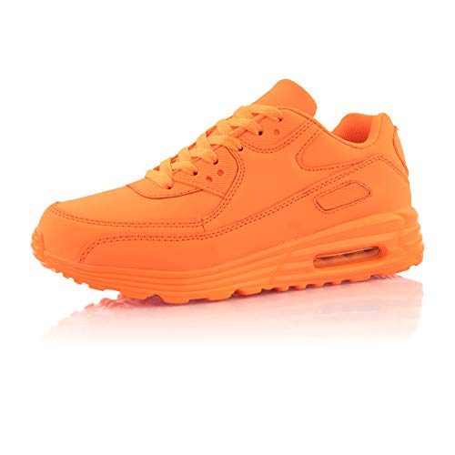 Fusskleidung® Damen Herren Sportschuhe Dämpfung Sneaker leichte Laufschuhe Neon Orange EU 37