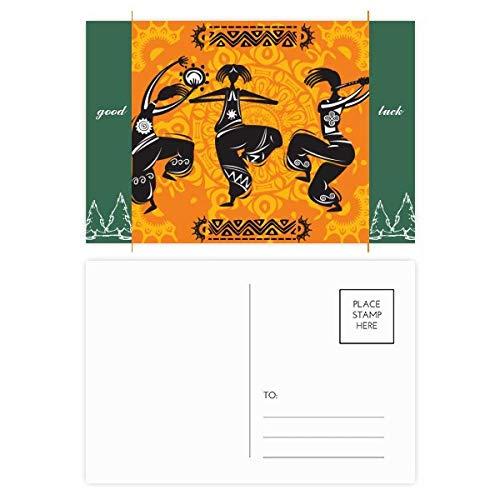 Dance People Mexiko-Totems Postkartenset, mexikanische Flöte, Glücksbringer, 20 Stück