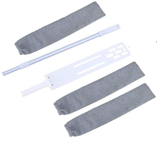 BangShou Spazzola per la Pulizia della Polvere con 3 Lavabile Panni, Spazzola Antipolvere Regolabile Riutilizzabile in Microfibra, Bagnati e Asciutti, 40-137 cm.