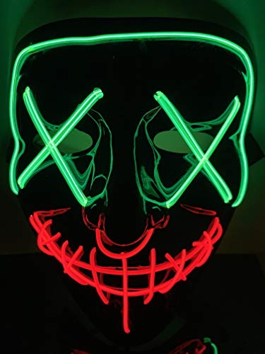 Moonideal Halloween Light Up Mask EL Wire Scary Mask for Halloween Festival Party Sound Induction Flash with Music Speed Green