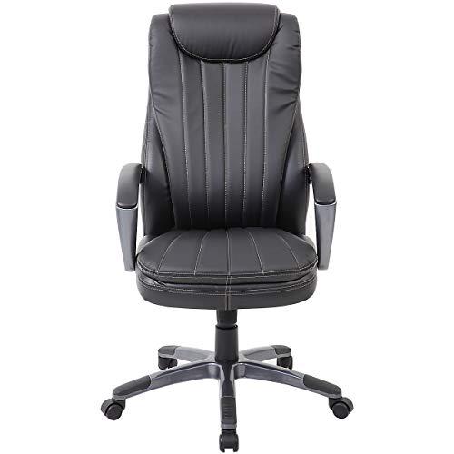 Certeo Chefsessel Tanis - Bürostuhl mit Lederbezug - Schreibtischstuhl mit hoher Rückenlehne - Bürodrehstuhl mit doppelter Polsterung, schwarz