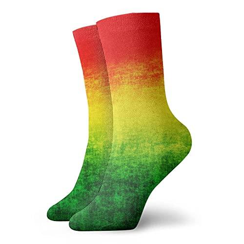AOOEDM Rojo Amarillo Bandera Verde Calcetines cortos unisex Calcetines que absorben la humedad Calcetines casuales personalizados Funky divertidos La mejor opción para la colocación de ropa y regalo