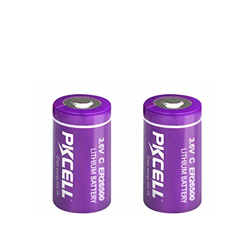 2 Count 3.6V ER26500 Lithium Battery, C Size 9000mAh Battery Long Lasting All-Purpose for Industrial Meters