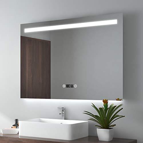 EMKE Espejo de Baño Espejo de baño Espejo LED Espejo de Pared con Interruptor Táctil+Antivaho+Reloj Digital,IP44,55W,Blanco Frío(100x70cm)