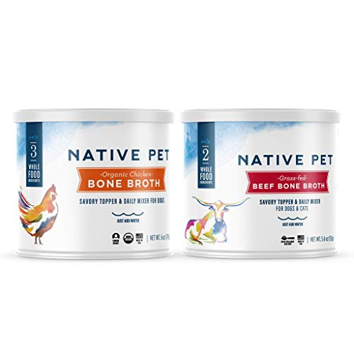 Native Pet Organic Chicken Broth & Grass-Fed Beef Broth - Toppers for Dogs