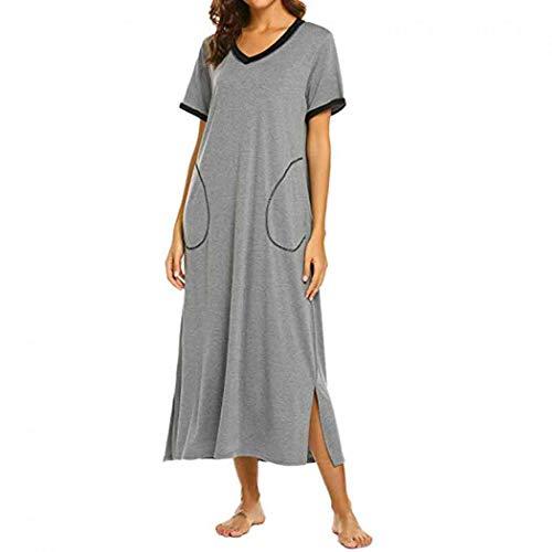 Jessie Nattkläder för kvinnor kontrastfärg flickor nattlinne med ficka sidoslitsen damer lösa nattlinnen lång nattlinne nattkläder
