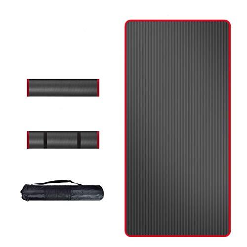 ZBK Esterilla de yoga NBR de 15 mm de grosor, alfombrilla de fitness, tapete de deporte ampliado y alargado para hombre, 200 x 90 x 1,5 cm, color negro y rojo