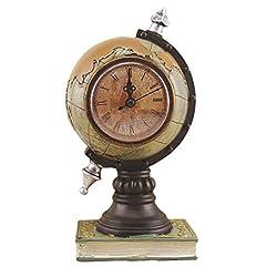 EXCEART Vintage Desk Clock Globe Design Metal Clock World Map Retro Antique Tabletop Clock Ornament for Home Office Desk Decoration Green