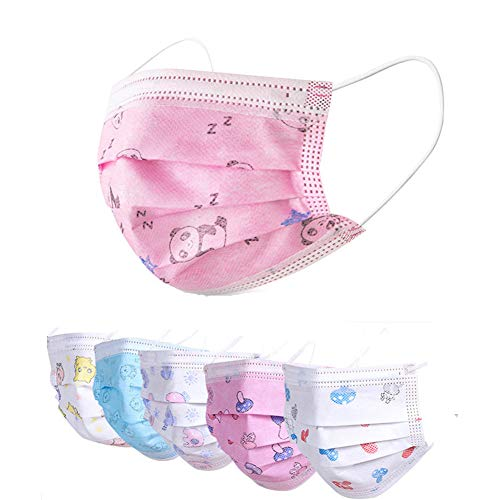 Disposable Face Masks Blue Facemask Face Shield Filter Mask Protective 3-Ply Breathable Comfortable Nose/Mouth Coverings for Home & Office (50pcs, Kids pink panda pattern)