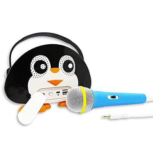 Skynew カラオケ 子供 プレゼント マイク付きスピーカー 充電式バッテリー Bluetoothで簡単接続 スマホと接続 小型 軽量 日本語説明書付き クリスマス 黒