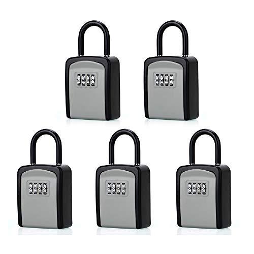 ABRA FOX Key Lock Box, Combination Lockbox with Code for House Key Storage, Combo Door Locker-5pack