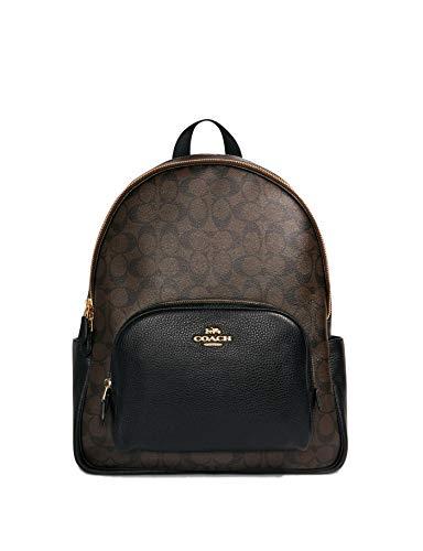 Coach Grand sac à dos pour femme en toile signature - marron - Large