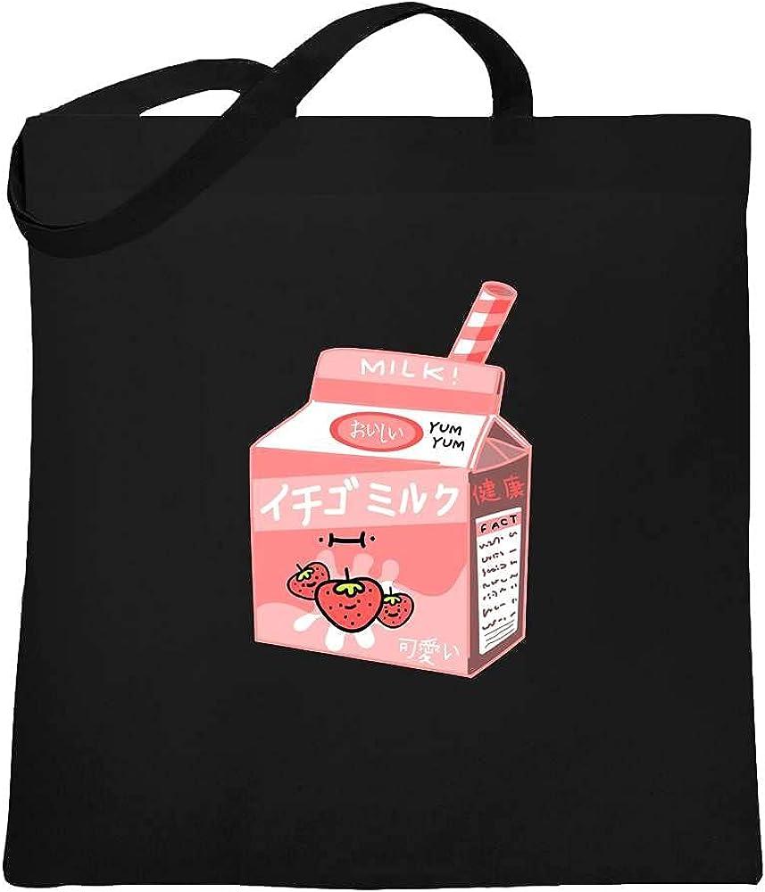 Kawaii Strawberry Milk Shake Aesthetic 90s Retro Large Canvas Tote Bag Women