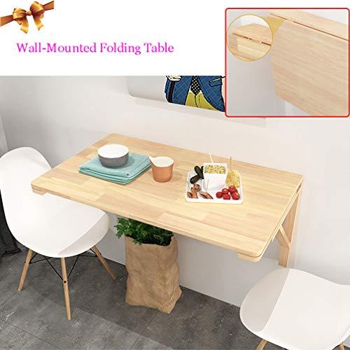 Tische Wandtisch, zusammenklappbarer Schreibtisch, Multifunktion Ecktisch, Esstisch aus massivem Holz, Holzfarbe, 14 Größen