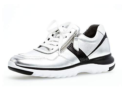 Gabor Damen Sneaker 36.318, Frauen Low-Top Sneaker,Halbschuh,Schnürschuh,Strassenschuh,Business,Freizeit,Silber/schw./Weiss,38 EU / 5 UK