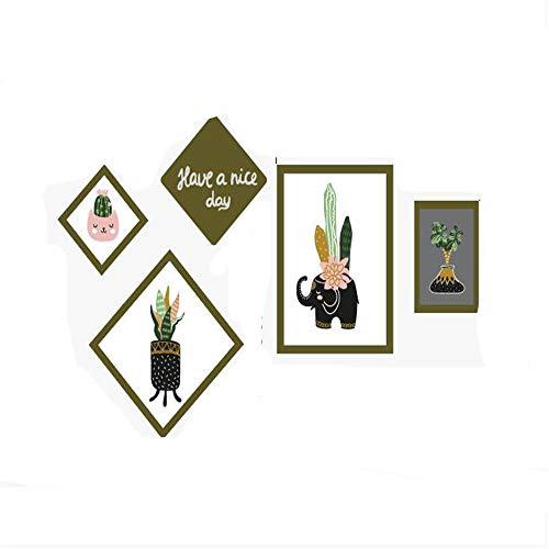 Afneembare Muurstickers Plant fotolijst in Mode Creatieve Foto Sticker Moderne Minimalistische Slaapkamer Bedkant Sticker